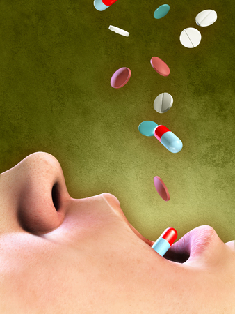 Different pills falling into an open mouth. Digital illustration.