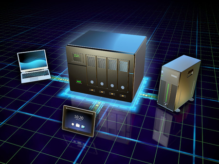 Various devices connected to a network attached storage. Digital illustration.