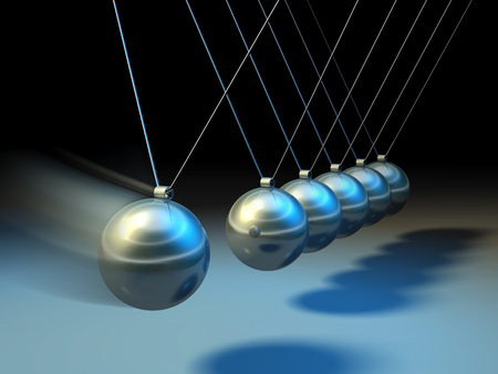 Swinging spheres demonstrate law of physics. Digital illustration.