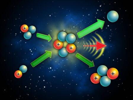 Kernfusion Energie gewinnen und Licht. Digital Illustration.