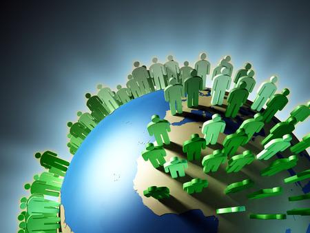 Croissance de la population mondiale et la surpopulation de la Terre. Illustration numérique. Banque d'images - 31970677