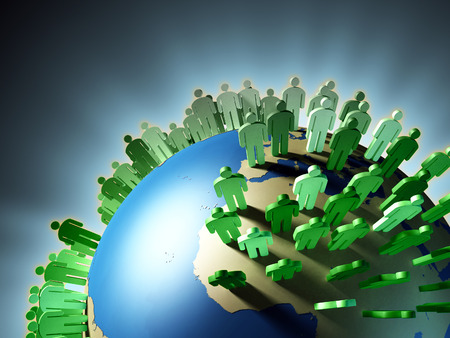 World population rise and Earth overcrowding. Digital illustration. Imagens