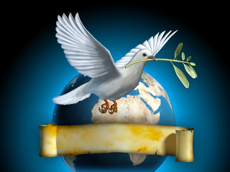 White dove carrying an olive branch as a peace symbol. The Earth and an old banner on background. Copyspace on banner to insert your own text. Digital illustration. Foto de archivo