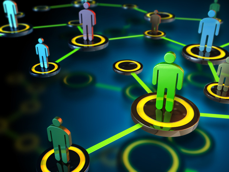 Digital network connecting many different people. Digital illustration. Stock Photo