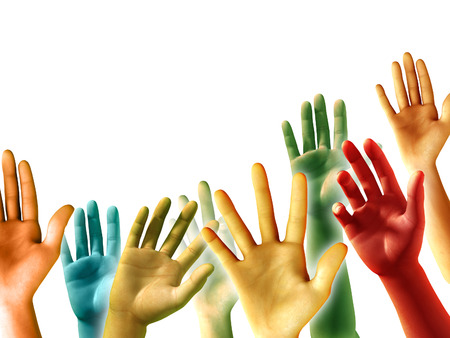 Multi-colored raised hands on white background, copyspace available. Digital illustration.