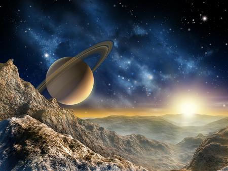 토성의 달 중 하나에서 본 화려한을 Spacescape. 디지털 그림. 스톡 콘텐츠
