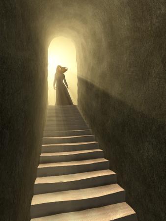 古いトンネルの出口に立っている女性の姿。デジタル イラストです。
