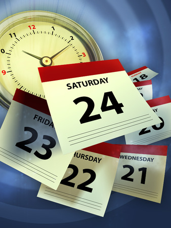 A clock and some calendar sheet symbolizing the passing of time. Digital illustration. Stock Photo