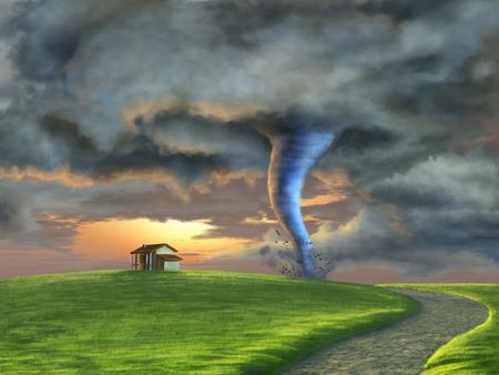Tornado zamiatanie przez krajobraz wsi o zachodzie słońca. Cyfrowe ilustracji.