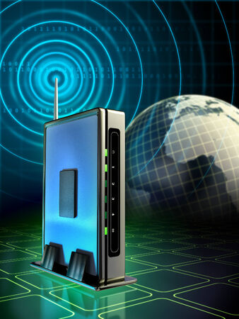 Stilvolle Wireless-Router mit Funkwellen von seiner Antenne Ursprung. Digitale Illustration