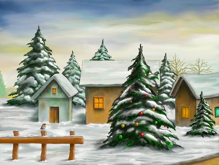 雪のクリスマス風景の小さな村。デジタル イラストです。