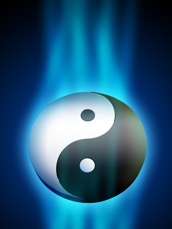Yin Yang symbol in a blue energy stream. Digital illustration. Banco de Imagens - 31970844