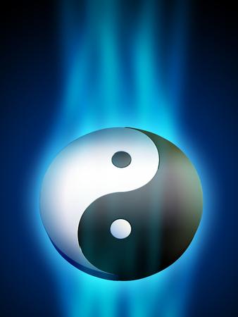 Yin Yang symbool in een blauwe energie stroom. Digitale illustratie.
