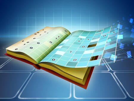 La transition du livre traditionnel à e-book. illustration numérique.