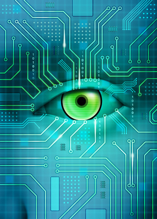 An open eye merges with a printed circuit board. Digital illustration.