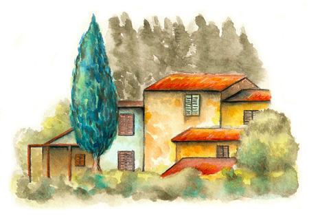 Landschaft im ländlichen Raum mit einem Landhaus und einigen Bäumen. Original-Aquarell. Standard-Bild