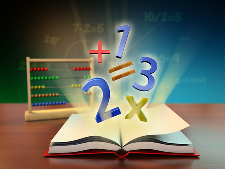 Numbers and mathematical operators coming out of an open book. Digital illustration. Stock Photo