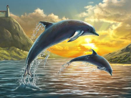 Dos delfines saltando fuera del mar a través de una hermosa puesta de sol. Pintura digital.