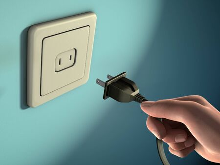 Male hand holding an electricity plug in front of a wall socket. Digital illustration. Banco de Imagens