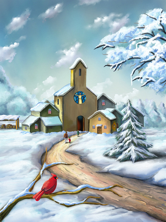 Small village in a snowy christmas landscape. Digital illustration. Stock Photo
