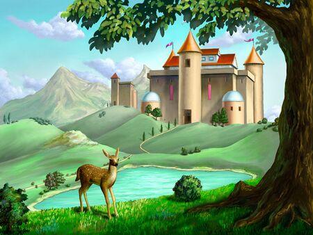 Château dans un paysage de conte de fées. illustration numérique. Banque d'images
