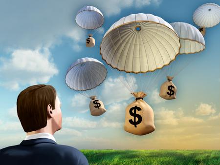 Uomo d'affari guardando alcuni sacchi di denaro che cadono dal cielo con un paracadute. Illustrazione digitale. Archivio Fotografico