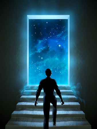 Man climbing a staircase leading to a door over the universe. Digital illustration.