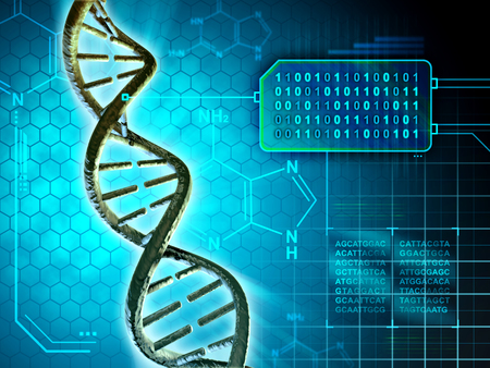 Dna structure converted into binary code. Digital illustration.