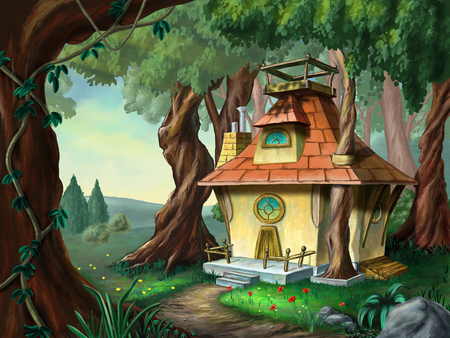 Fantasy house in a wood. Digital illustration. Фото со стока