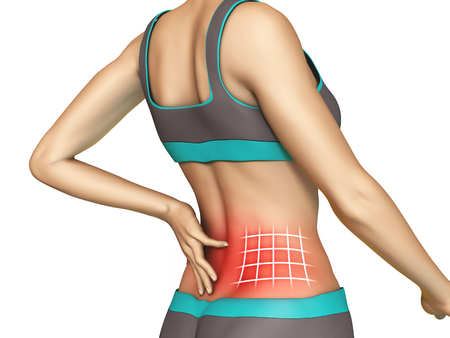 Baja gráfico dolor de espalda en un cuerpo de mujer joven. Ilustración digital, incluido el recorte camino. Foto de archivo