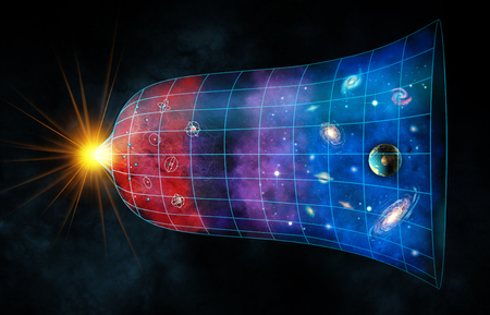 Ekspansja wszechświata od Wielkiego Wybuchu do chwili obecnej. Cyfrowe ilustracji. Zdjęcie Seryjne