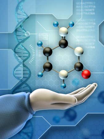 Cytosin Molekül und DNA-Zusammensetzung. Digitale Illustration.