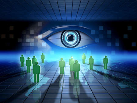 Monitoraggio attività online delle persone. Illustrazione digitale.