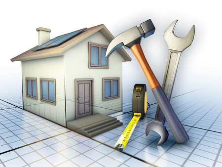 Some tools used for home maintenance works. Digital illustration.
