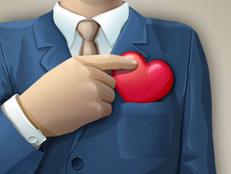 Businessman holding an heart shape between its fingers. Digital illustration. Stock Photo