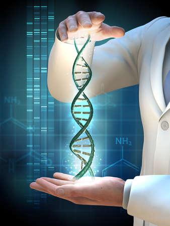 Científico sosteniendo una hélice de ADN entre sus manos. Ilustración 3D.
