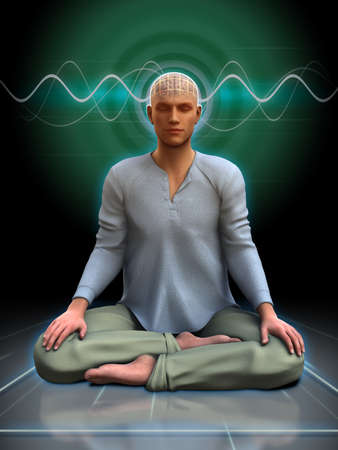 Young man meditating with some brainwaves going through his head. 3D illustration. Фото со стока