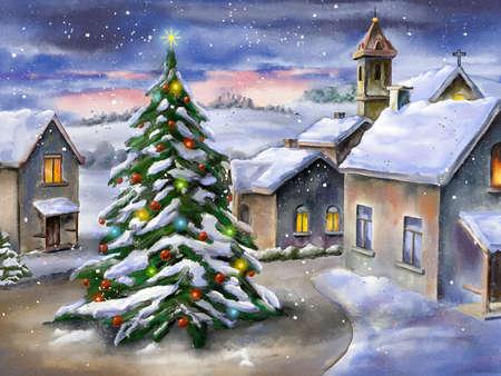 눈 덮인 풍경에 크리스마스 트리입니다. 손으로 그린 그림입니다.
