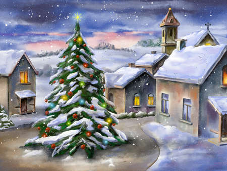 Christmas tree in a snowy landscape. Hand-painted illustration. Banque d'images