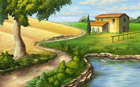 Paisaje rural con rancho y estanque. Ilustración original. Foto de archivo