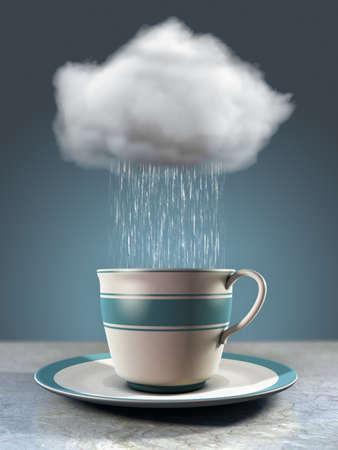 Regendruppels vallen uit een wolk in een porseleinen kopje. 3D illustratie.