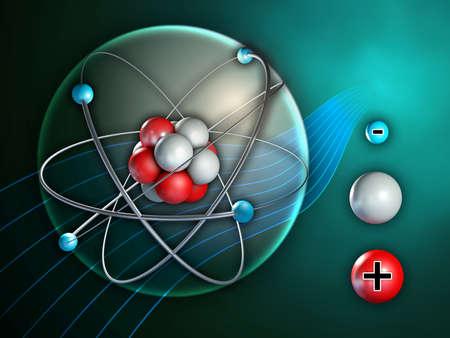 Atoom en zijn bestanddelen. Digitale illustratie. Stockfoto