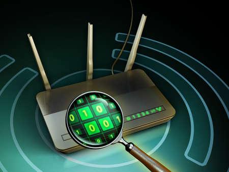 Wifi-Router unter einer Lupe. 3D-Darstellung. Standard-Bild - 79273975