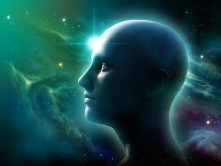 Menschlichen Kopf Silhouette über ein Weltraum-Panorama. 3D-Darstellung. Standard-Bild - 79273997