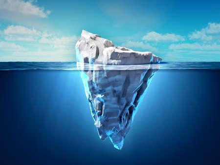 Iceberg flotando en el océano, tanto la punta como las partes sumergidas son visibles. Ilustración 3D.