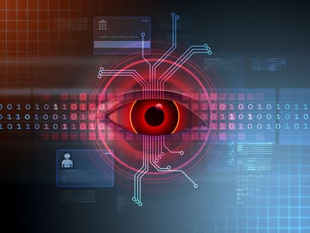 Hackers eye spying on a data stream. Digital illustration. Stock Photo