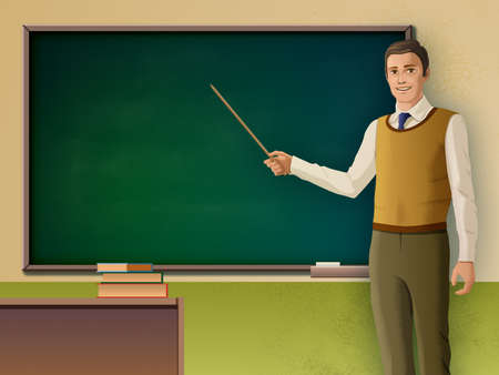 Male teacher pointing to a blackboard. Digital illustration.