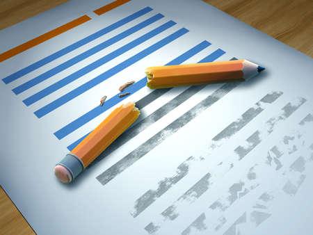 Broken pencil over a printed paper sheet. 3D illustration.