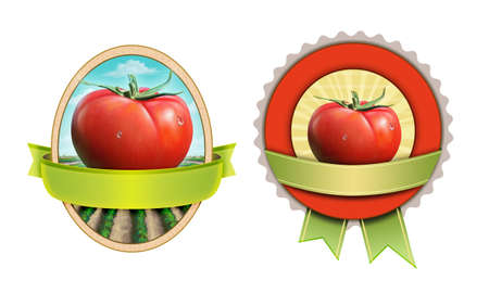 Labels for tomato based products. Digital illustration, clipping mask included.