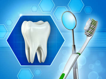Molar tooth, mirror and toothbrush. Digital illustration.